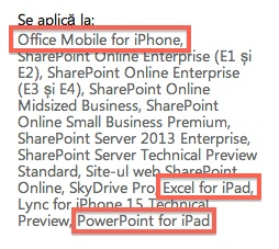 Microsoft Office Support Documents Mention  Excel, Word, and Powerpoint for iPad