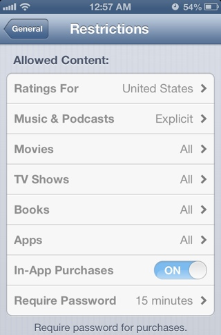 apple in app purchases parental controls