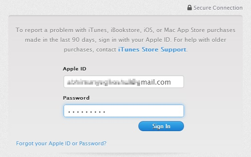 Log in to iTunes Support on your browser