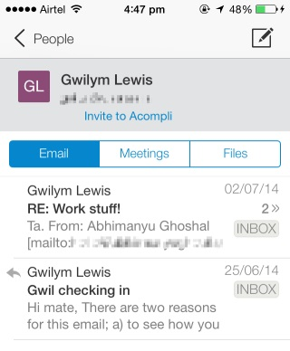 Acompli lets you track down messages, files and appointments by contact